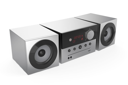 stereo subwoofer: Stereo audio system on white background Stock Photo