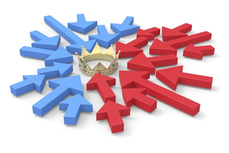 opponents: Political concept image with arrows symbolizing opponents, pointing to crown who symbolize power