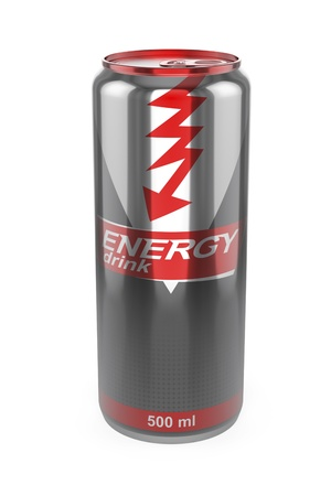 Energy drink can on white background photo