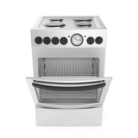 Inox electric cooker on white background photo