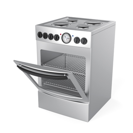 Inox electric stove on white background