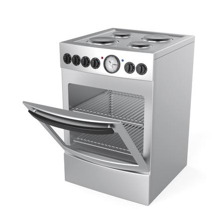 Inox cuisinière électrique sur fond blanc