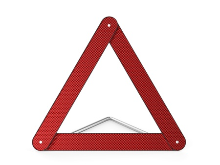 Warning triangle on white background photo