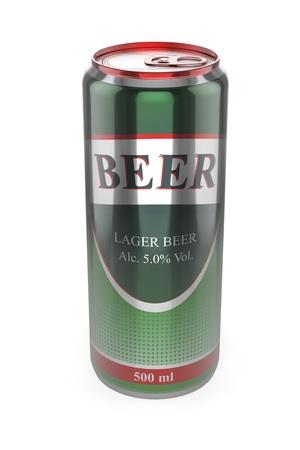 Canette de bière sur fond blanc