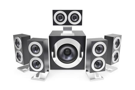 surround system: 5.1 surround system on white background