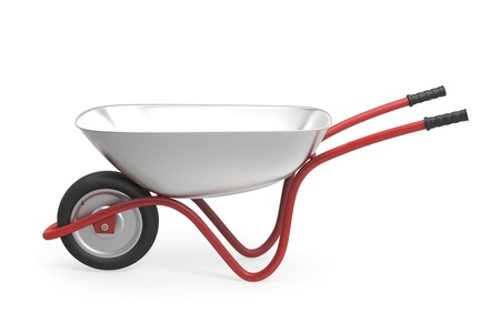 3d rendered image of wheelbarrow on white background