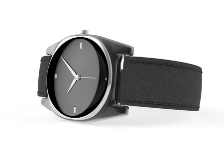 straps: Elegant black wristwatch on white background