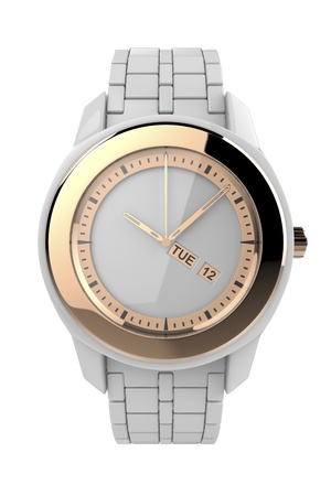 White ceramic wristwatch with pink gold elements, isolated on white