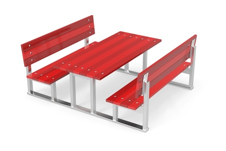 outdoor furniture: Red garden benches and table