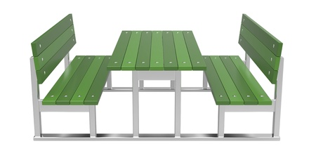 outdoor furniture: Modern picnic table on white background Stock Photo