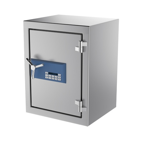 reliability: Bank safe with digital lock, isolated on white background Stock Photo