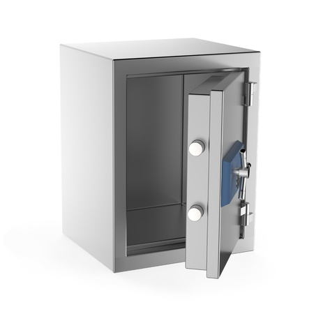 Empty safe on white background photo