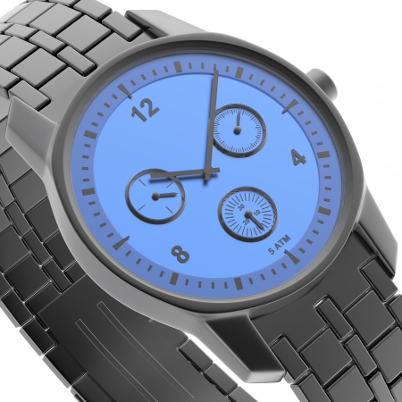 wristlet: Close-up view of blue-black watch, 3d rendered image Stock Photo