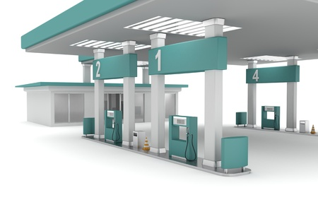 refuel: 3d illustration of petrol station