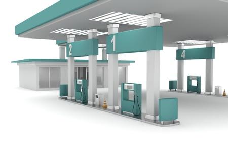 gasolinera: 3d ilustración de la estación de gasolina