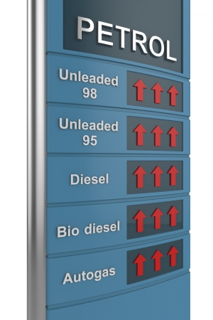 Concept image with petrol station sign, showing rise of prices photo
