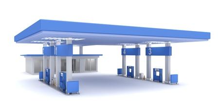 Tankstation, 3d teruggegeven beeld