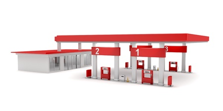 estacion de gasolina: Gasolinera en fondo blanco Foto de archivo
