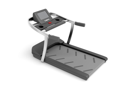 Treadmill machine on white background photo