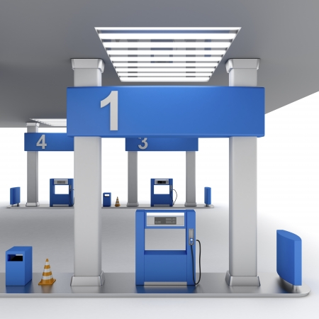 Front view of fuel pump in petrol station photo
