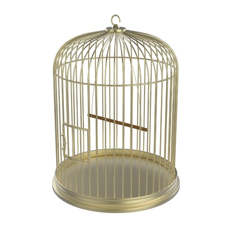 Golden bird cage isolated on white background photo