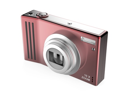 compact camera: Red digital photo camera isolated on white background