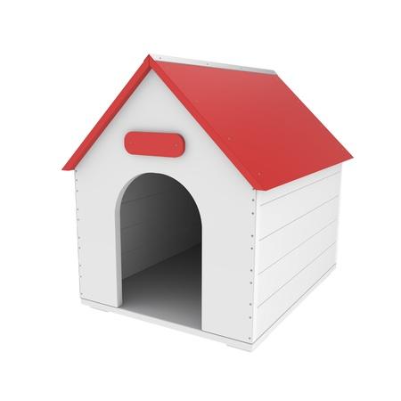casa de perro: Caseta de perro aislado en el fondo blanco