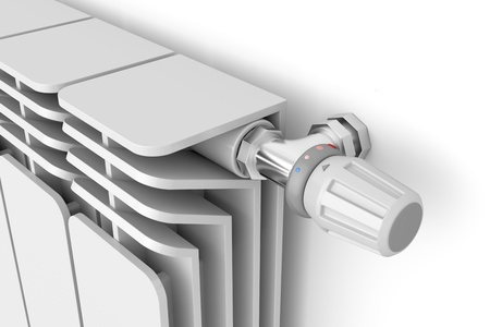 convection: Heating radiator with thermostat, 3d rendered image