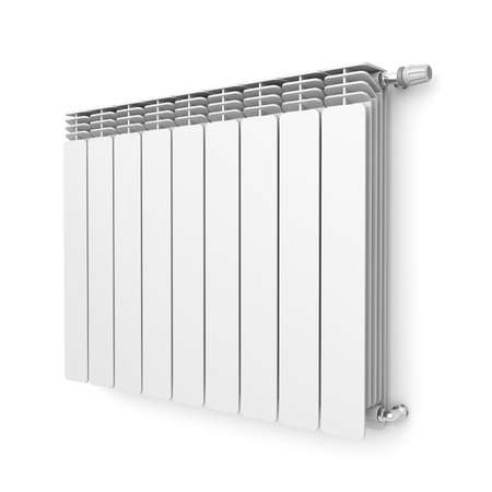 Heating radiator with thermostat attached on wall Stock Photo