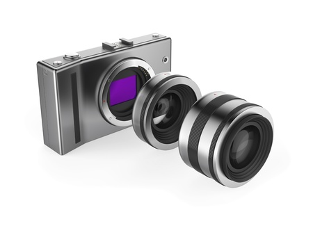 ccd camera: Mirrorless camera with lenses on white background