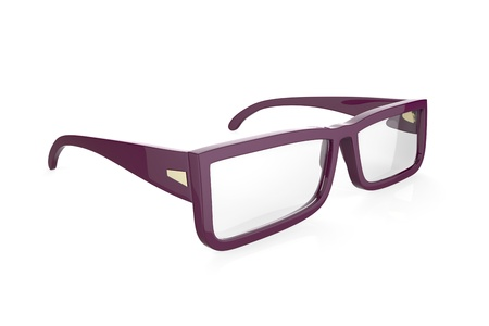diopter: Purple eyeglasses on white background Stock Photo