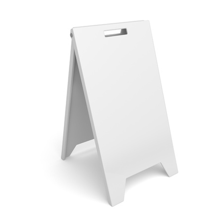 White advertising stand on white background