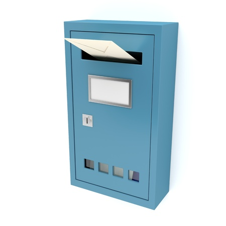 Inserting envelope into blue mailbox photo