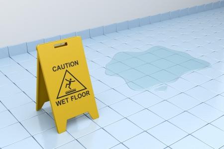 Wet floor sign on tiled floor