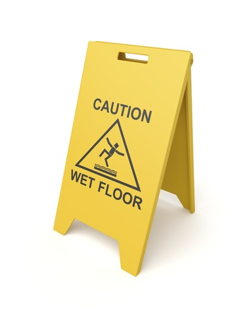 Wet floor sign on white background photo