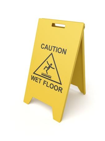 Wet floor sign on white background