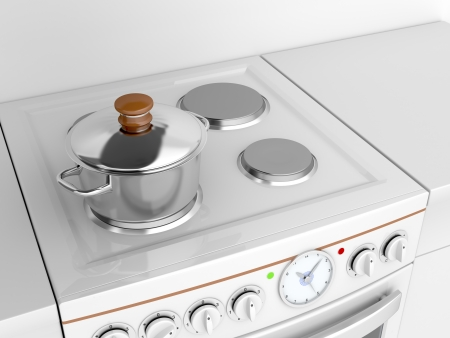 Cooking pot on a stove photo