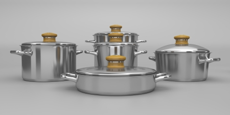 Set of stainless steel pots photo