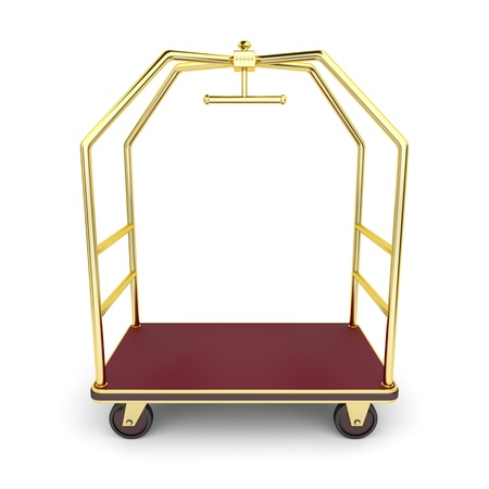 Luggage cart on white background photo