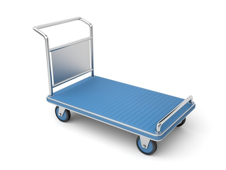 carretilla de mano: Carrito de equipaje al aeropuerto en el fondo blanco