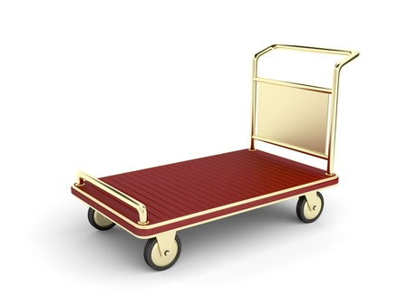 dolly bag: Golden hotel baggage cart on white background Stock Photo