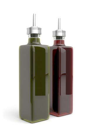 Olive oil and vinegar on white background photo