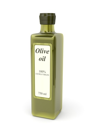 Olive oil bottle on white background photo