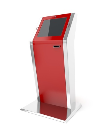 Interactive kiosk on white background