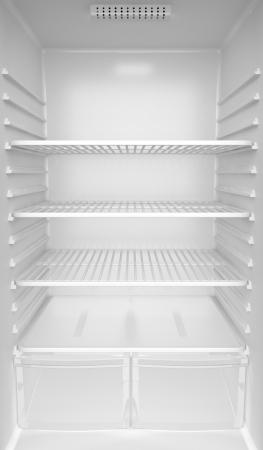 refrigerador: En el interior de una nevera blanca vacía Foto de archivo