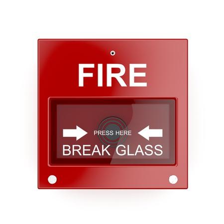 glass break: Fire alarm on white wall