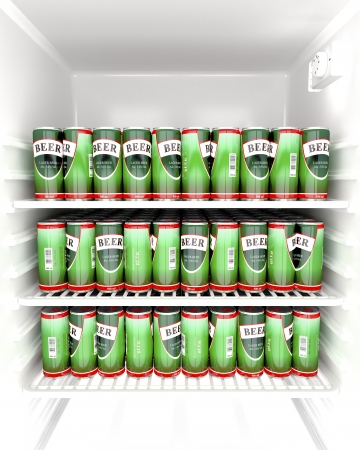 cold storage: Fridge full with beer cans Stock Photo