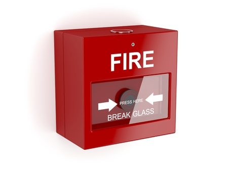 emergency button: Red fire alarm on white background Stock Photo