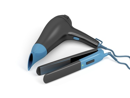 secador de pelo: Secador de pelo y plancha de pelo en el fondo blanco