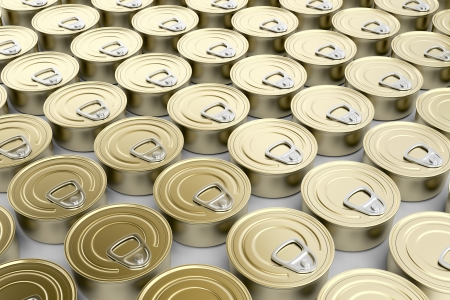canned: Multiple rows with tin cans Stock Photo